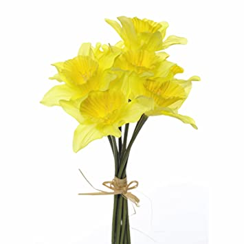 Floristrywarehouse Artificial Silk Daffodils Bunch 9 Stems Realistic