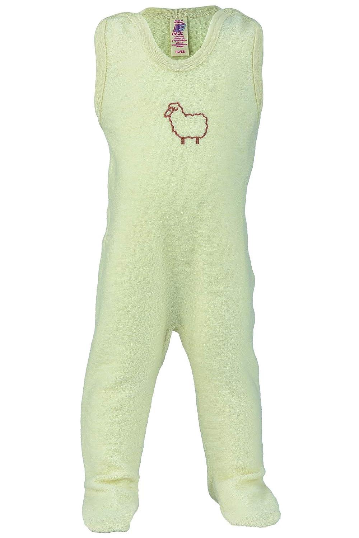 100/% Wolle Baby Strampler mit Fu/ß Gr 50//56-74//80 Engel Natur kbT