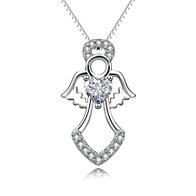 Angel Wing Necklace Jewellery Sterling Silver Guardian Angel Wing Heart Pendant Necklaces For Women p9dPHZZu