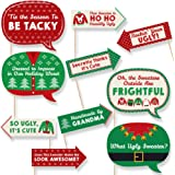 Funny Ugly Sweater Holiday - Christmas Party Photo Booth Props Kit - 10 Piece