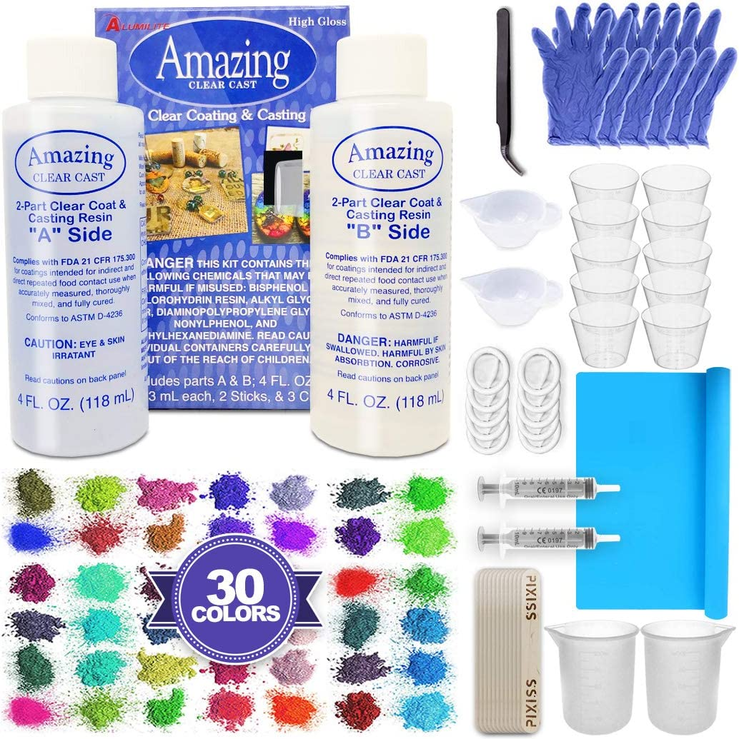 Amazing Clear Cast Bundle - Amazing Clear Cast Resin 8 Ounce, Pixiss 30 Colors Resin Tinting Mica Powders (Assorted Colors), Mixing Sticks, Silicone Measuring Cups, Gloves, Pipettes