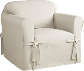 armchair covers. Serta 863052 Relaxed Fit Duck Slipcover Box Chair, Parchment Armchair Covers