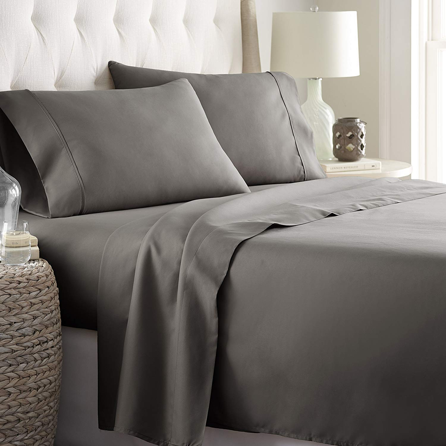 Solid } Queen Size Dark Grey Color { Style Deal of The Day Luxurious /& Comfortable { 600-TC } 4-Piece Bed Sheet Set Super Soft Egyptian Cotton Fits Mattress 15 to 18 Inch Deep Pocket