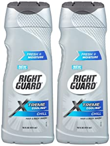 Right Guard Xtreme Cooling Hair and Body Wash, Chill, 16 Ounce (Pack of 2)