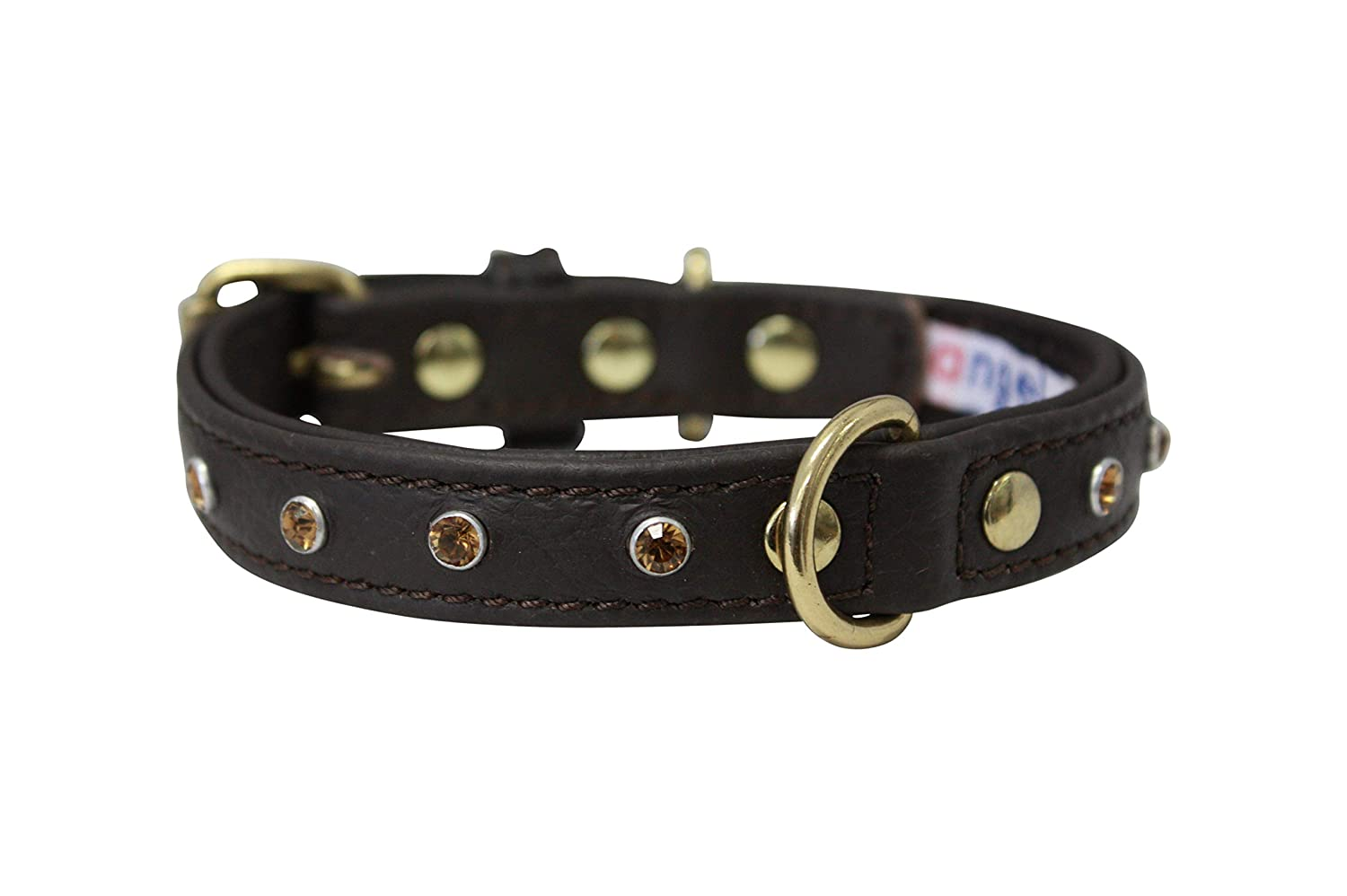 Rhinestones Bling Leather Dog Collar, Padded, Double-Ply, Riveted Settings, 12  x 5 8 , Brown. Stainless Steel (Athens) For Neck Size  8.5  10.5