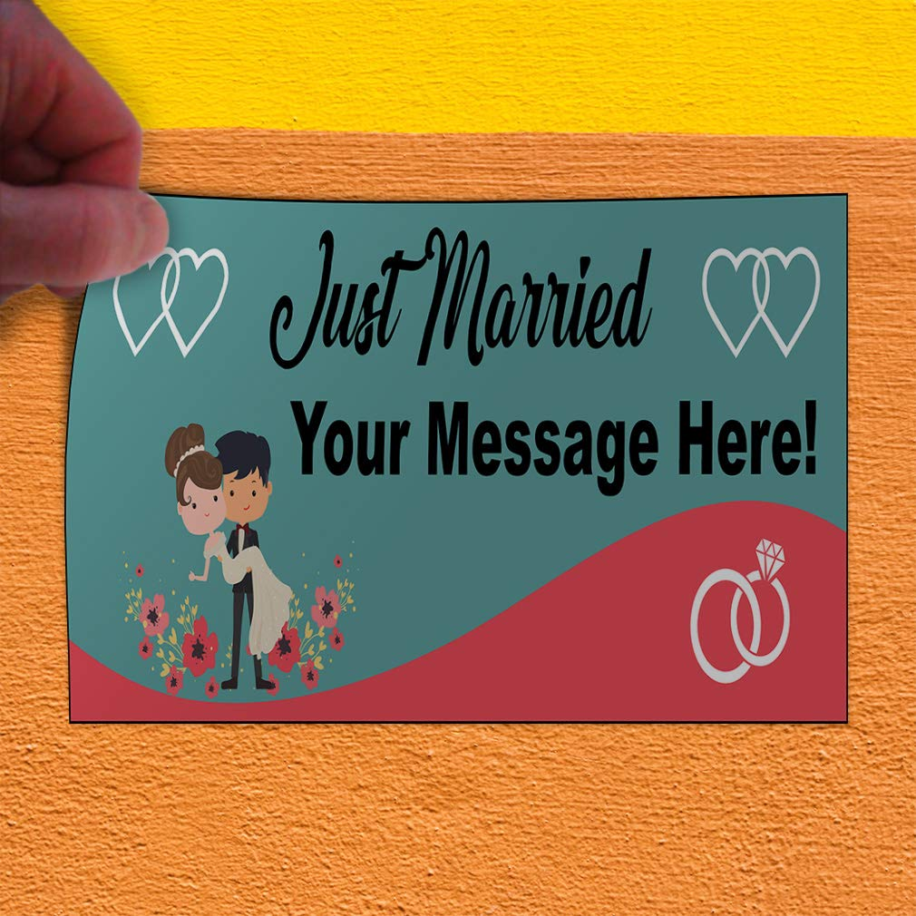 Custom Door Decals Vinyl Stickers Multiple Sizes Just Married Your Message Here Lifestyle Just Married Outdoor Luggage /& Bumper Stickers for Cars Blue 54X36Inches Set of 5