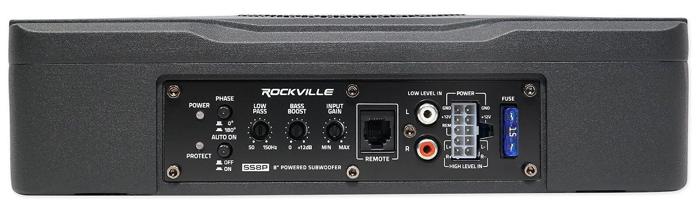 Rockville SS8P 400w 8 Slim Under-Seat Active Powered Car//Truck Subwoofer Sub