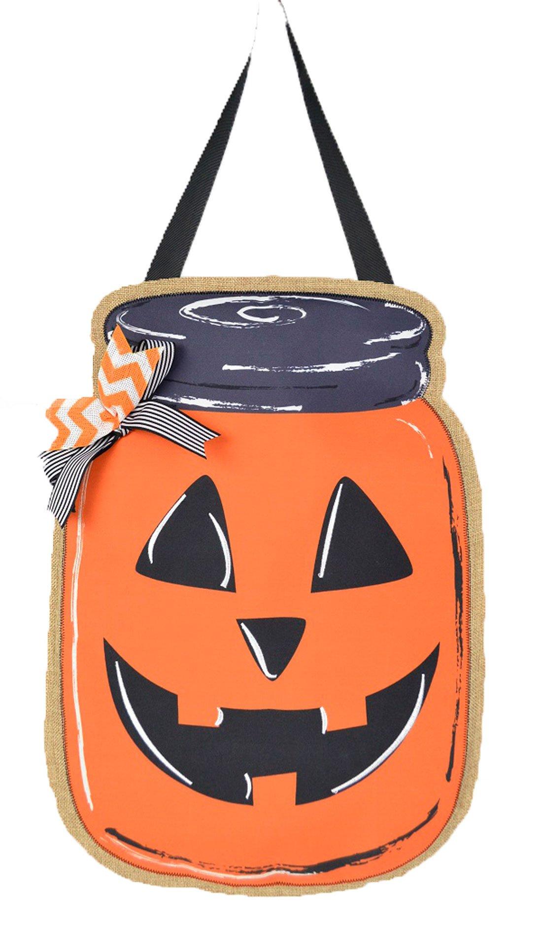JEC Home Goods Jack O Lantern Decoration Door Hanger - Halloween Mason Jar - Front Door Decoration or Wall Decor on Burlap - Large 18 Inch Size