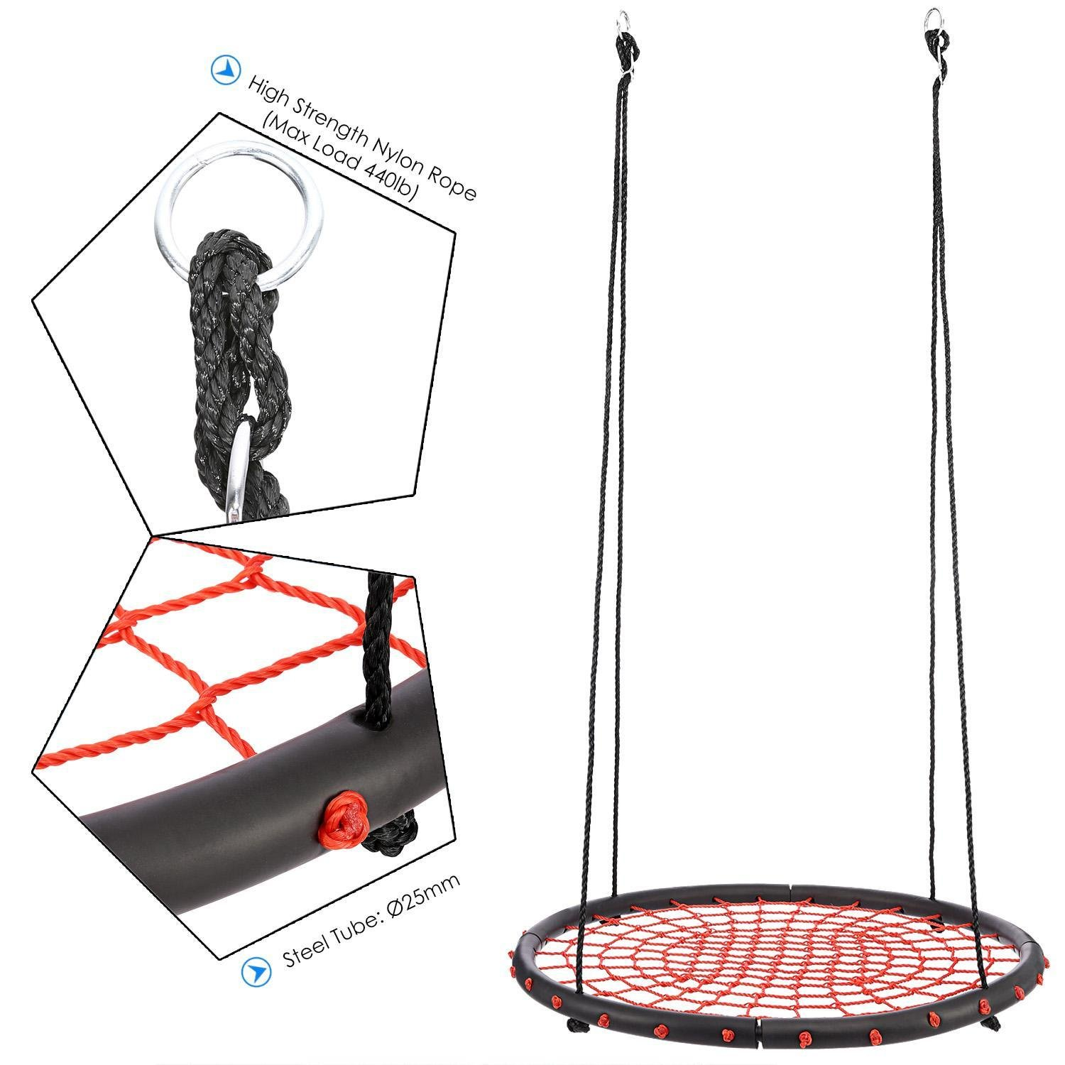 Rapesee Spider Web Round Swing, 39.4 Inch diameter, Adjustable hanging ropes, Great for Playground, Tree, Outdoor Use red