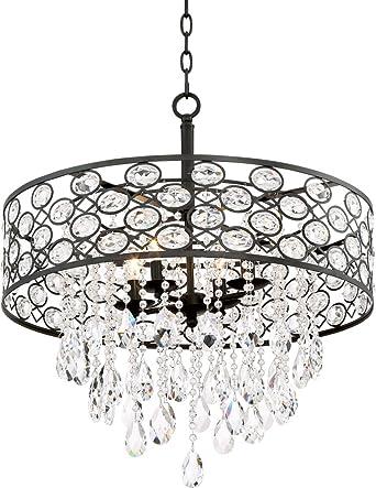 Ellena 24u0026quot; Wide 4-Light Black Crystal Pendant Light  sc 1 st  Amazon.com & Ellena 24