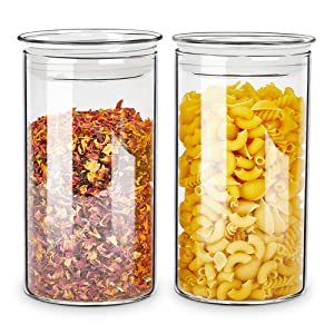 ZENS Glass Canister Jars with Glass Lid,Airtight Sealed Clear Medicine Storage Containers 37 Fluid Ounce Set of 2 for Loose Tea,Coffee Beans 1100ML