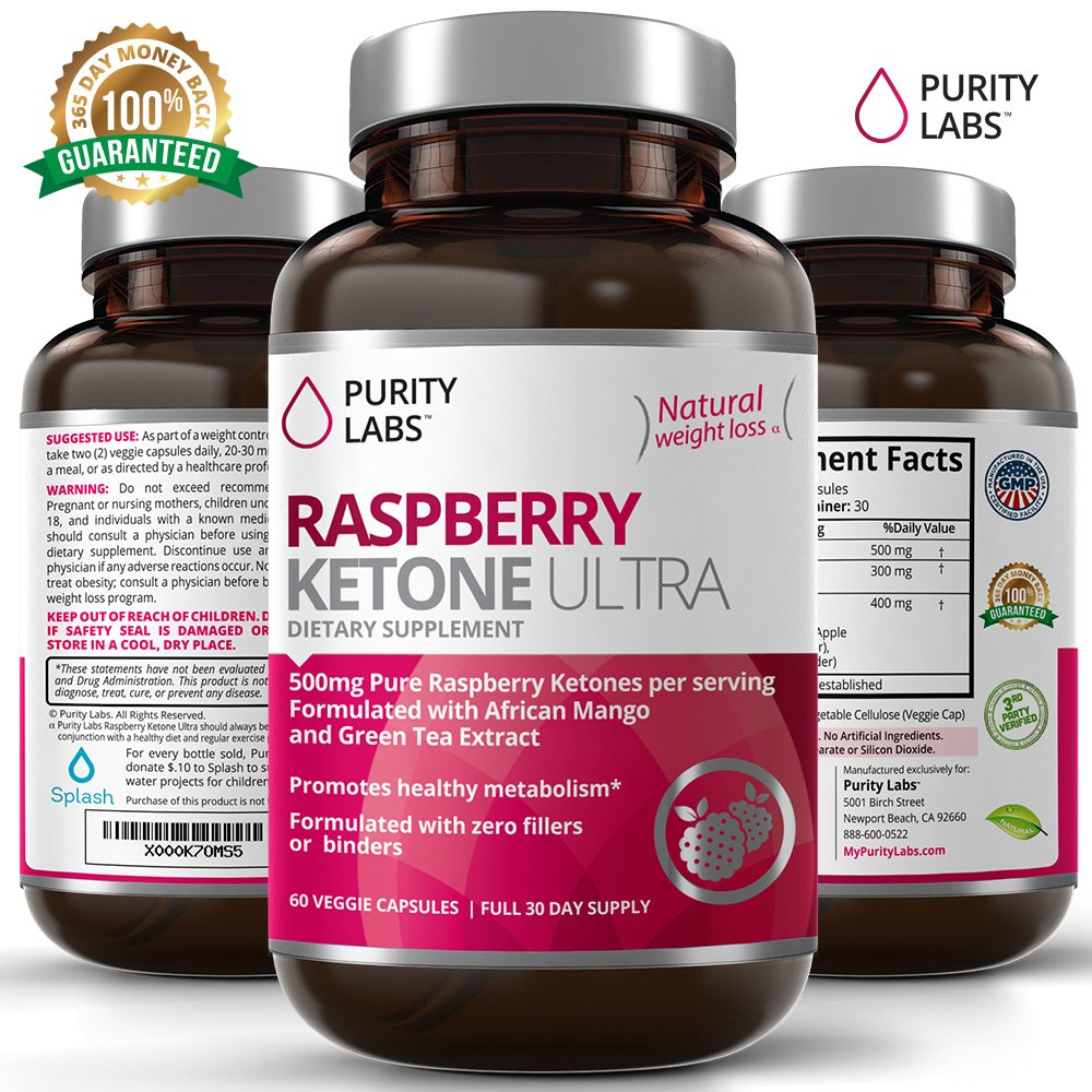 Raspberry Ketones 500mg per serving - 120 Veggie Capsules - Enhanced with African Mango and Green Tea - Natural Appetite Suppressant Weight Loss Diet Pill Supplement for Women and Men by Purity Labs