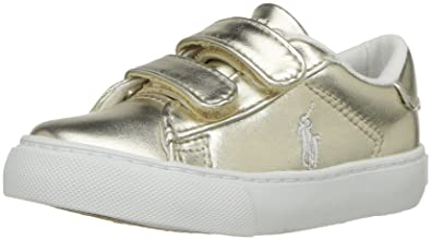 the best attitude 9f996 31b5b Polo Ralph Lauren Kids Baby Easton EZ Sneaker, Gold Metallic, 4 Medium US
