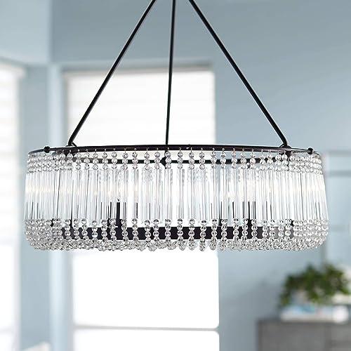 Capilla Matte Black Pendant Chandelier 26 Wide Modern Crystal 6-Light Fixture for Dining Room House Foyer Kitchen Island Entryway Bedroom Living Room – Possini Euro Design