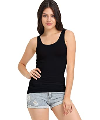6d9e33a751367 SATINATO Women s Stretch Slim Fit Casual Tank Top Stretch Cotton Cami  Essential Solid at Amazon Women s Clothing store