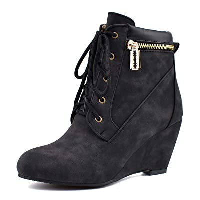 100FIXEO Women Retro Wedge High Heel Lace Up Comfort Ankle Boots with Zipper | Ankle & Bootie