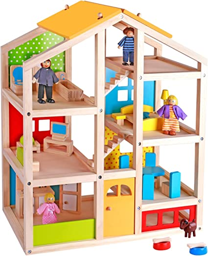 Wooden Furniture Dolls House Family Miniature 7 People Doll Toy For Child NO1