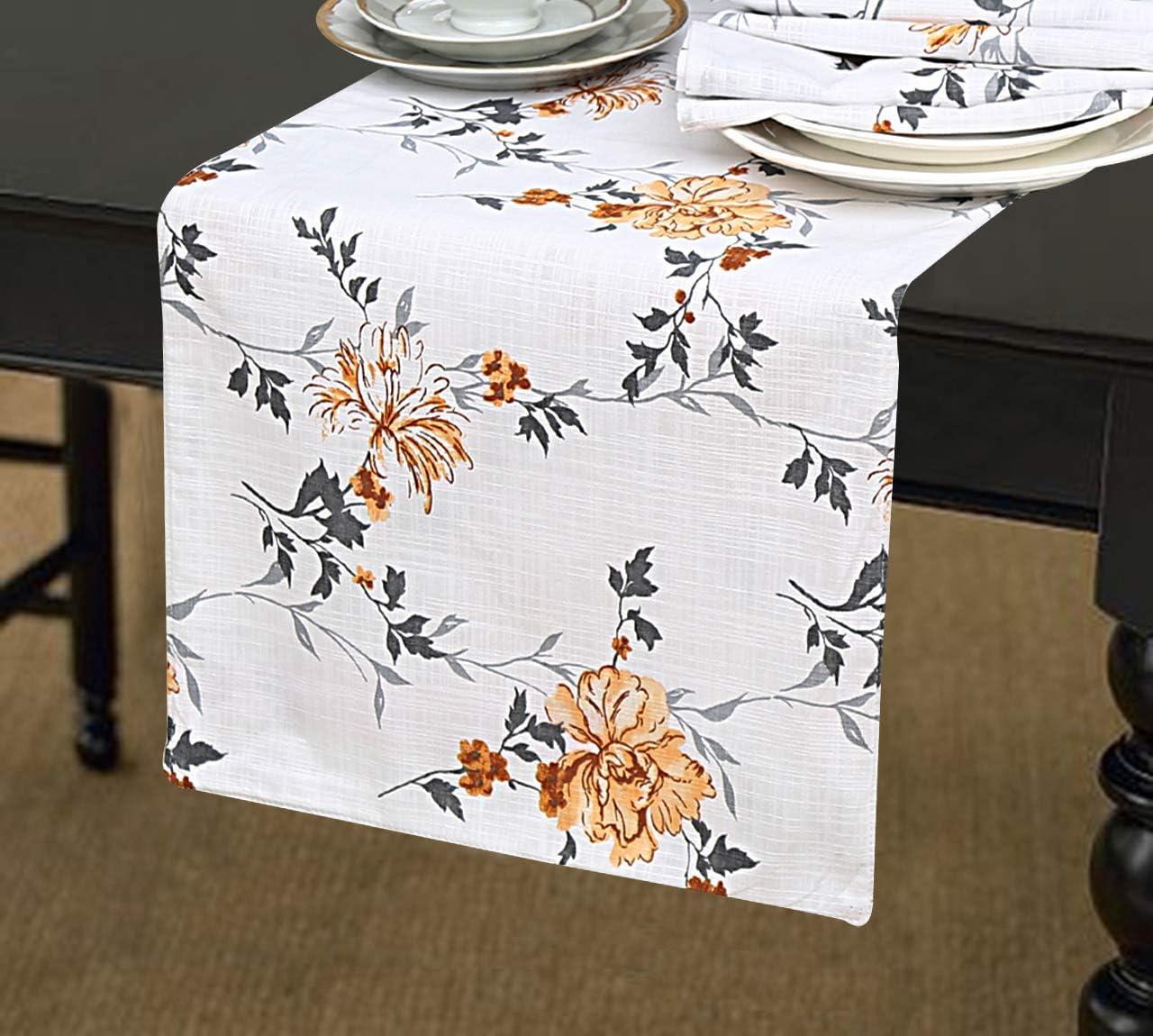 Ruvanti Red & Orange Floral Print Linen Table Runner