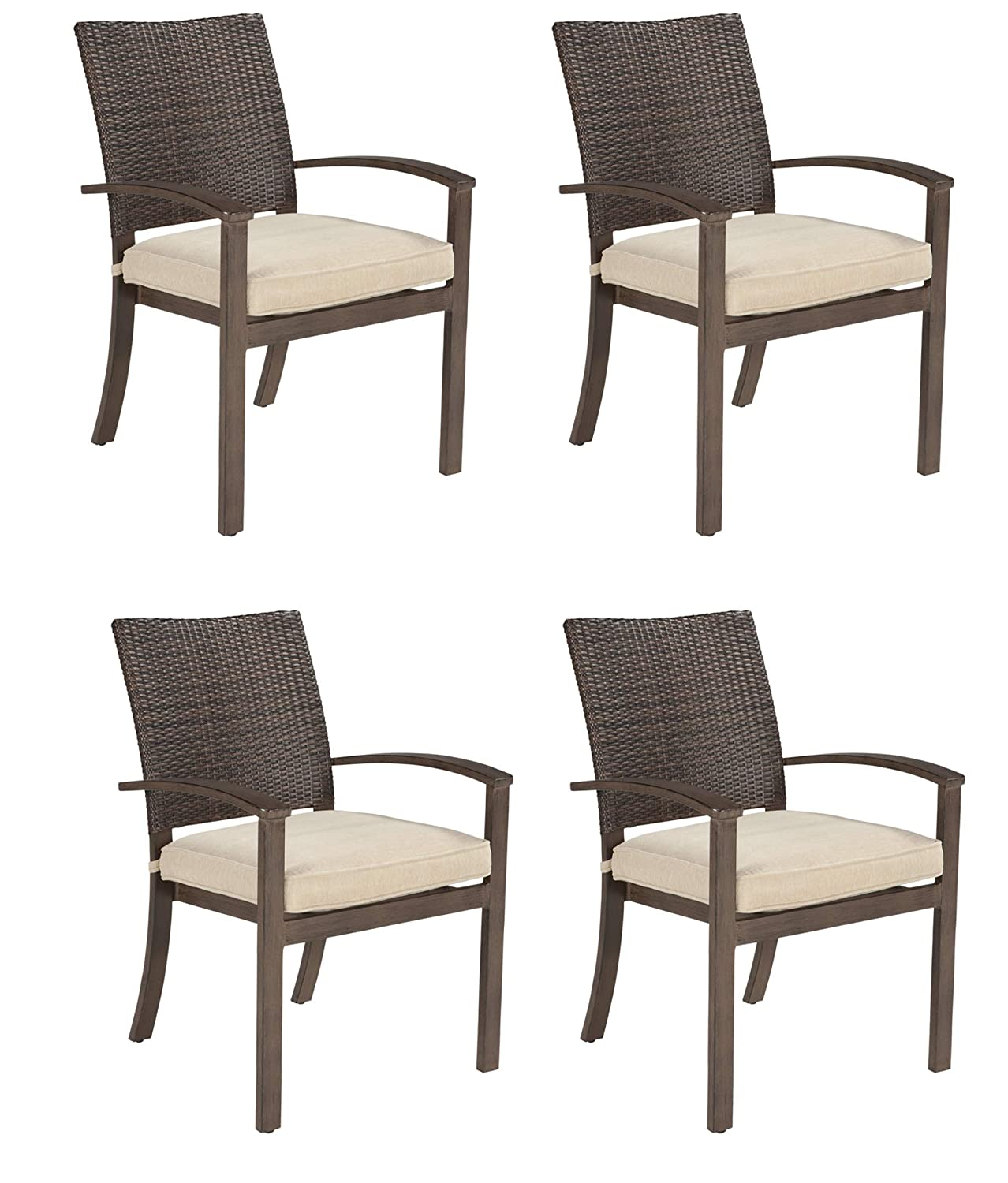 Amazon com ashley furniture signature design moresdale outdoor dining chair with cushion set of 4 woven wicker brown garden outdoor