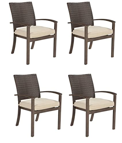Outstanding Ashley Furniture Signature Design Moresdale Outdoor Dining Chair With Cushion Set Of 4 Woven Wicker Brown Home Interior And Landscaping Staixmapetitesourisinfo