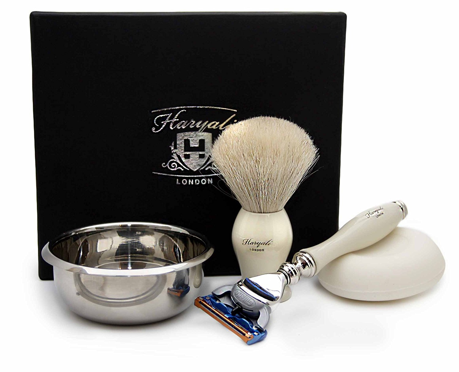 White Hair Badger Hair Set In Ivory Color. The Set Includes Shaving Brush,3 Different Razors Type To choose(BLADES NOT INCLUDED), Stainless Steal Bowl & FREE Soap (Gillette Fusion Razor)