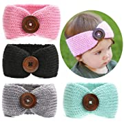 Ranipobo Baby Girl Knit Crochet Turban Warm Headbands Bowknot Band for Newborn,Toddler and Childrens