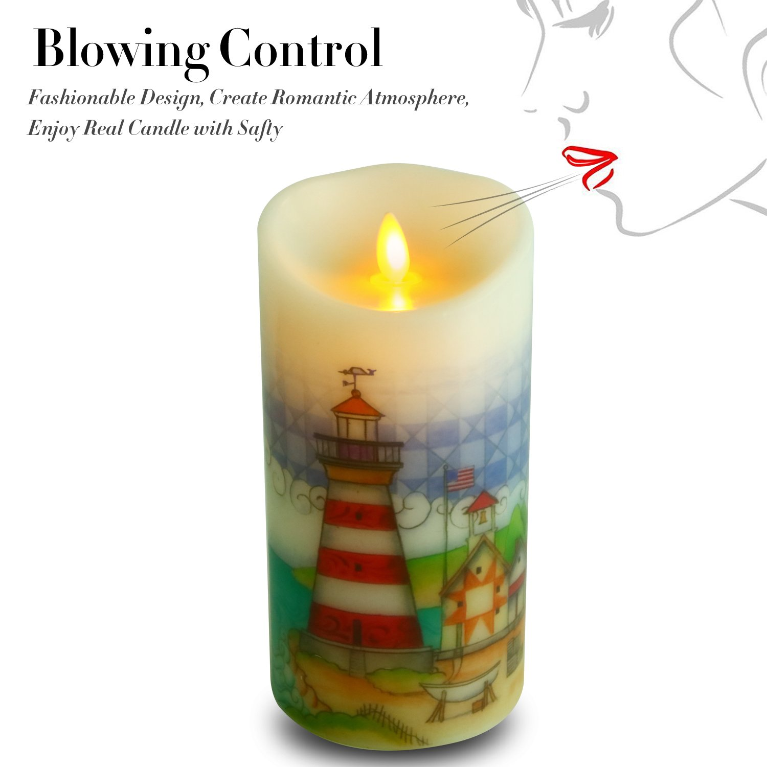 Ksperway Flameless Wax Candles, Moving Wick LED Pillar Candle with Blow ON/Off Control,Timer and Remote 3.5 by 7 Inch Picture (Lighthouse) by Ksperway (Image #1)