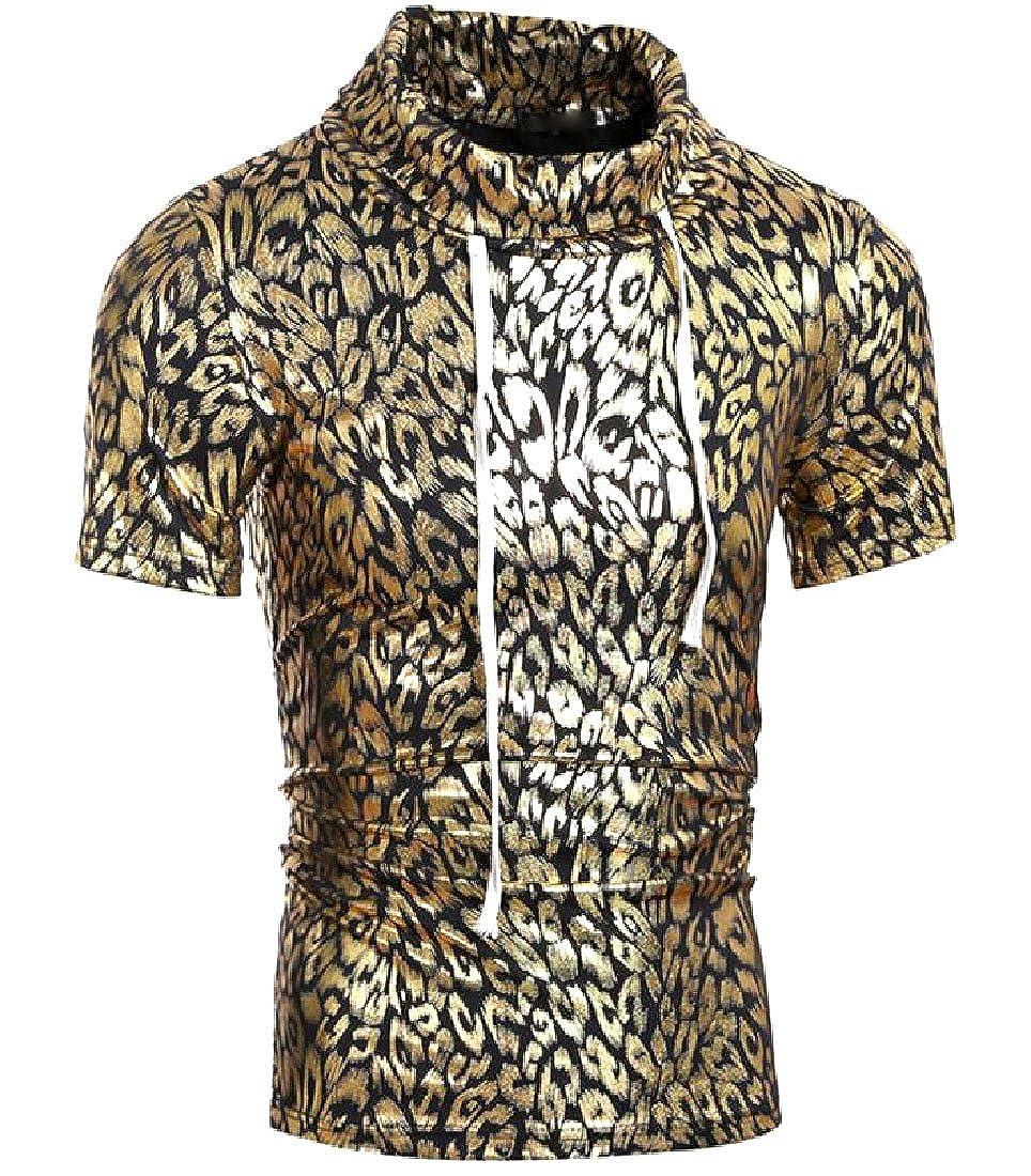 Whitive Mens Creative Semi-Hign Collar Bronzing Drawstring T-Shirt