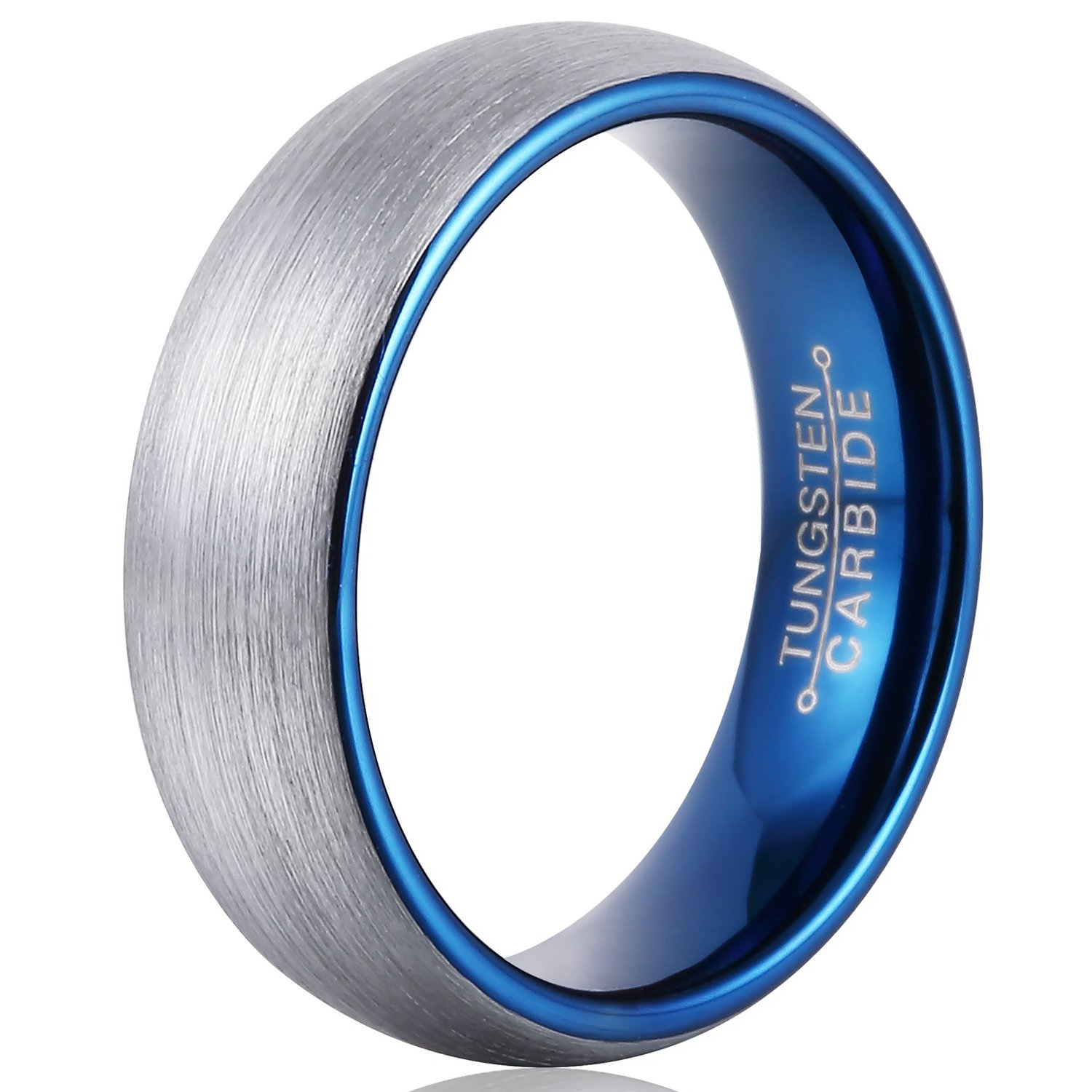 FCL Tungsten Ring Men Wedding 6mm Matte Brushed Surface Inner Blue Plated Size 7-13