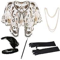 1920s Shawl Sequin Beaded Cape Bolero Flapper Cover Up 20s Accessories Set