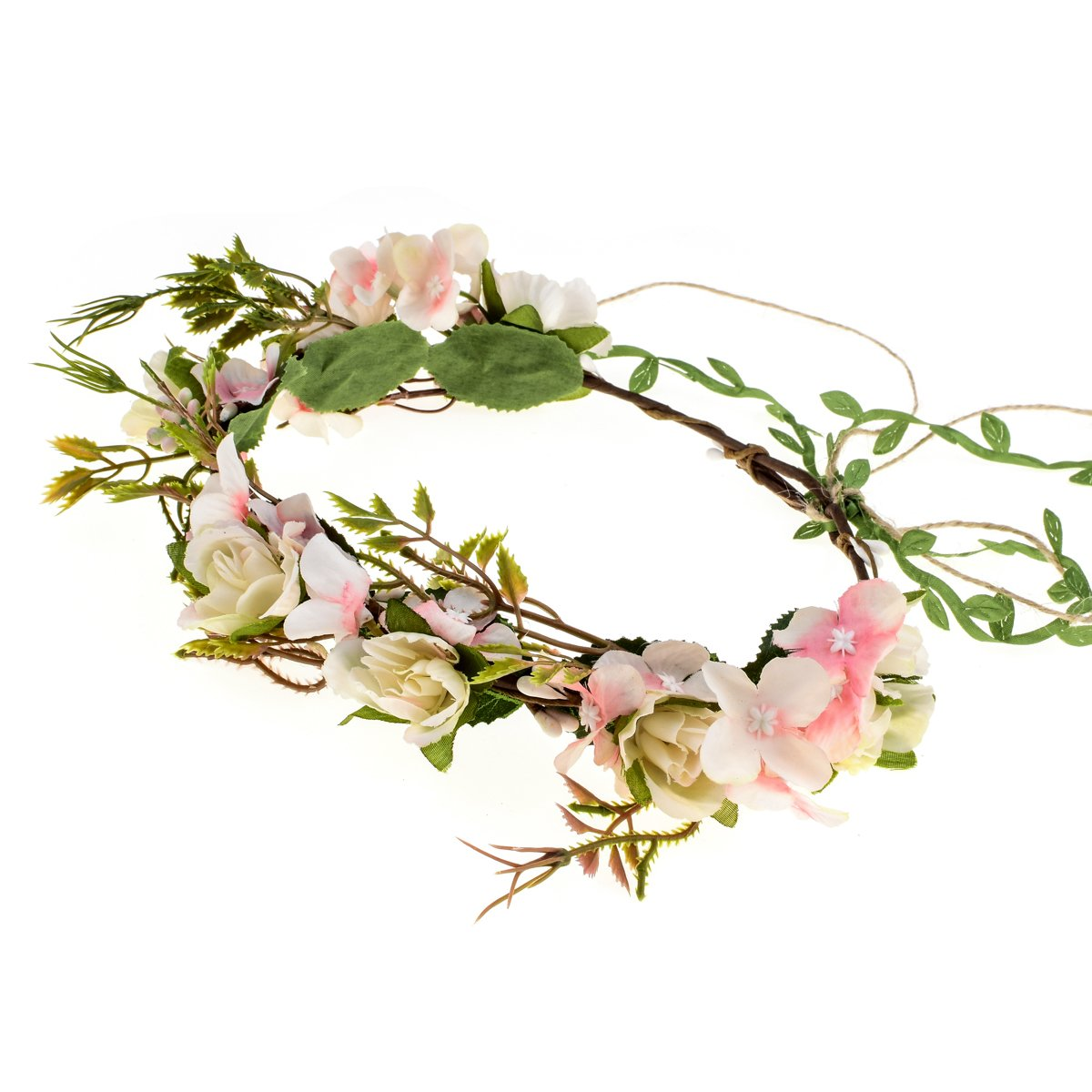 Love Sweety Bridal Adjustable Flower Garland Crown Hair Wreath Boho Headband (Ivory Pink)