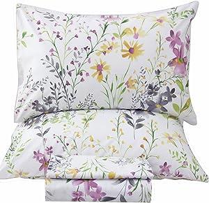 Queen's House Romantic Garden Floral Bed Sheet Queen Set-W