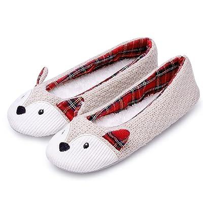Knitted Fox Animal Ballet House Slippers for Women Anti-Slip Sole Beige   Slippers