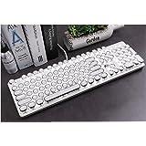 Retro Vintage Mechanical Typewriter with White LED Backlit Keyboard: Metal Base and Chrome Keycaps Anti Ghosting