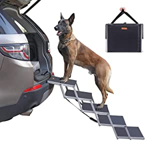 Niubya Folding Car Dog Steps Stairs, Lightweight Aluminum Portable 5 Step Pet Ladder Ramp for Medium and Large Dogs to Get into Car, Truck, SUV and High Bed, Supports 150-200 lbs