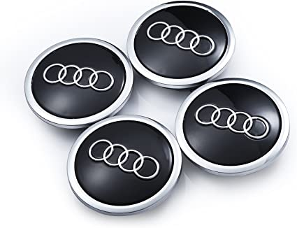 Audi Set de cuatro llantas aluminio centro – Juego de tapacubos negro/chromab de protectora Insignia Buje