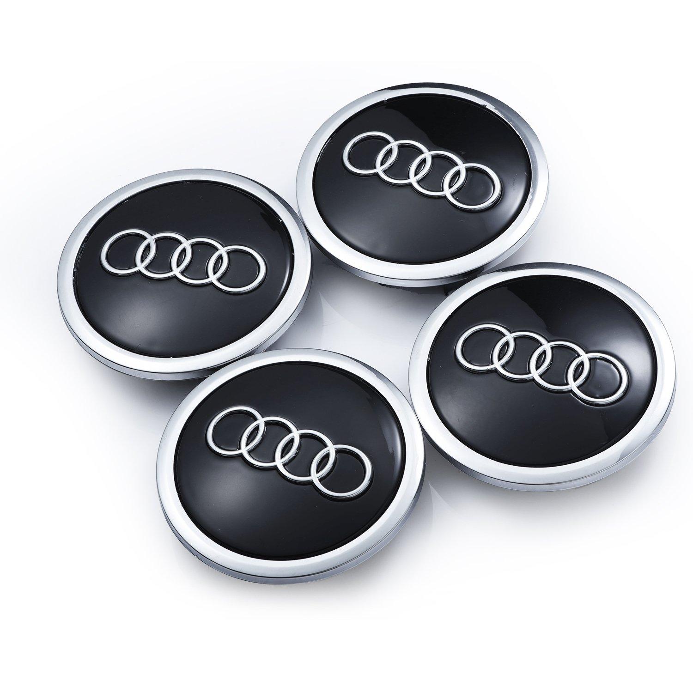 Audi Set de cuatro llantas aluminio centro - Juego de tapacubos negro/chromab de protectora Insignia Buje Tapa Buje tapas 69 mm apta para Audi A3 A4 A5 A6 ...