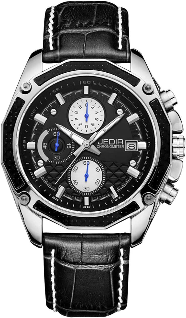 JEDIR Men s Chronograph Quartz Wrist Watch Analog Dial with Date Calendar Soft Leather Band
