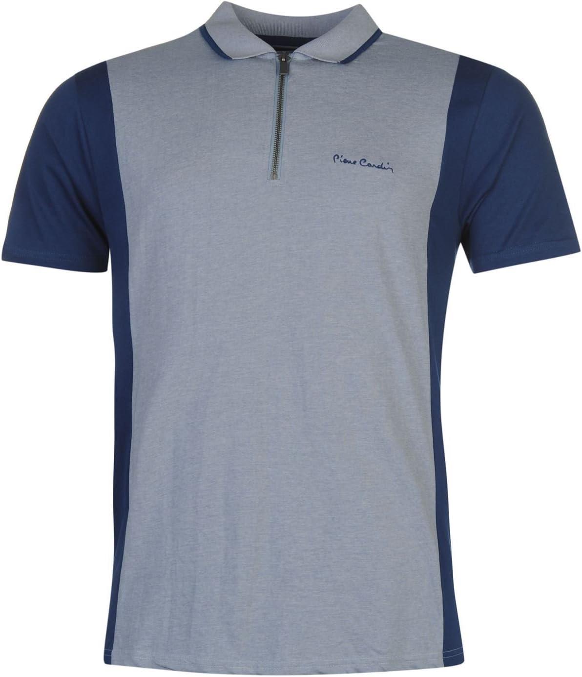 Pierre Cardin cremallera cuello Polo camiseta para hombre parte superior azul tela vaquera camiseta de manga corta, azul vaquero, medium: Amazon.es: Deportes y aire libre