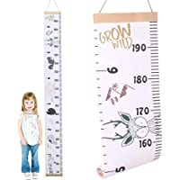 All About Kids Growth Chart, Wood Frame Fabric Canvas Height Measurement Ruler from Baby to Adult for Child's Room…