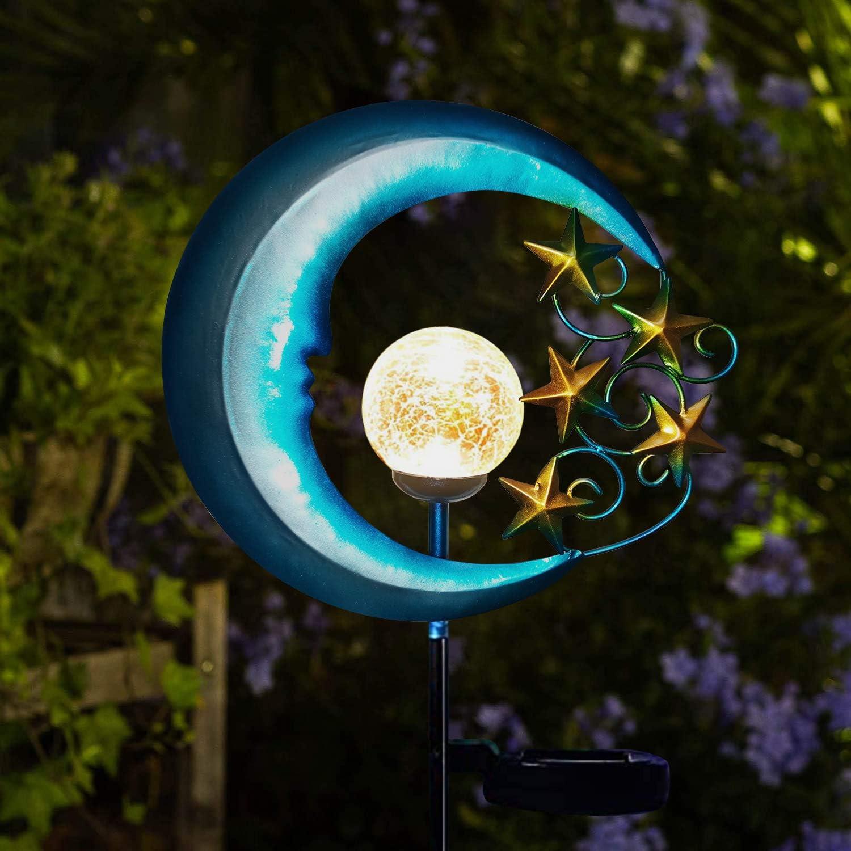 EPROSMIN Stars Moon Solar Lights Outdoor - Solar Powered Garden Lights Decorative Crackle Glass Globe Led Waterproof Landscape Lighting for Pathway,Yard,Lawn,Patio