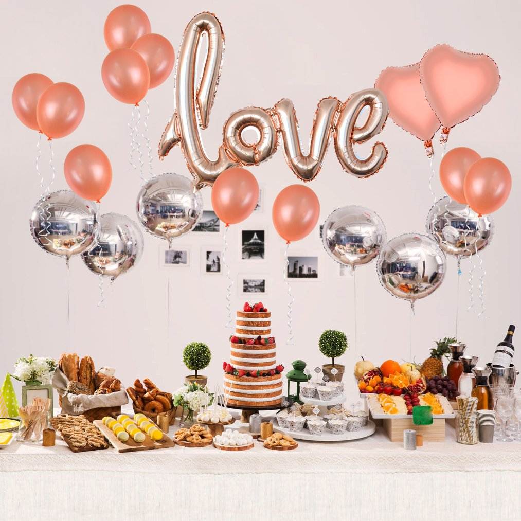 baotongle Rose Gold Love Balloons Kit, Valentines Day Decorations and Gift for Him or Her Rose Gold Foil Heart Balloons for Valentines,Wedding, Bridal Shower Decor