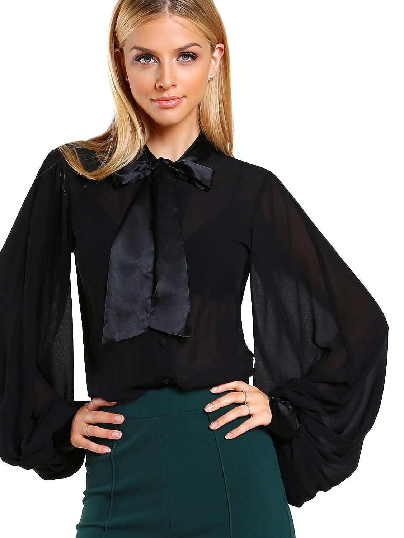 0336c3671b14b8 WDIRARA Women's Sheer Bow Tie Neck Button Satin Chiffon Blouse Top at  Amazon Women's Clothing store: