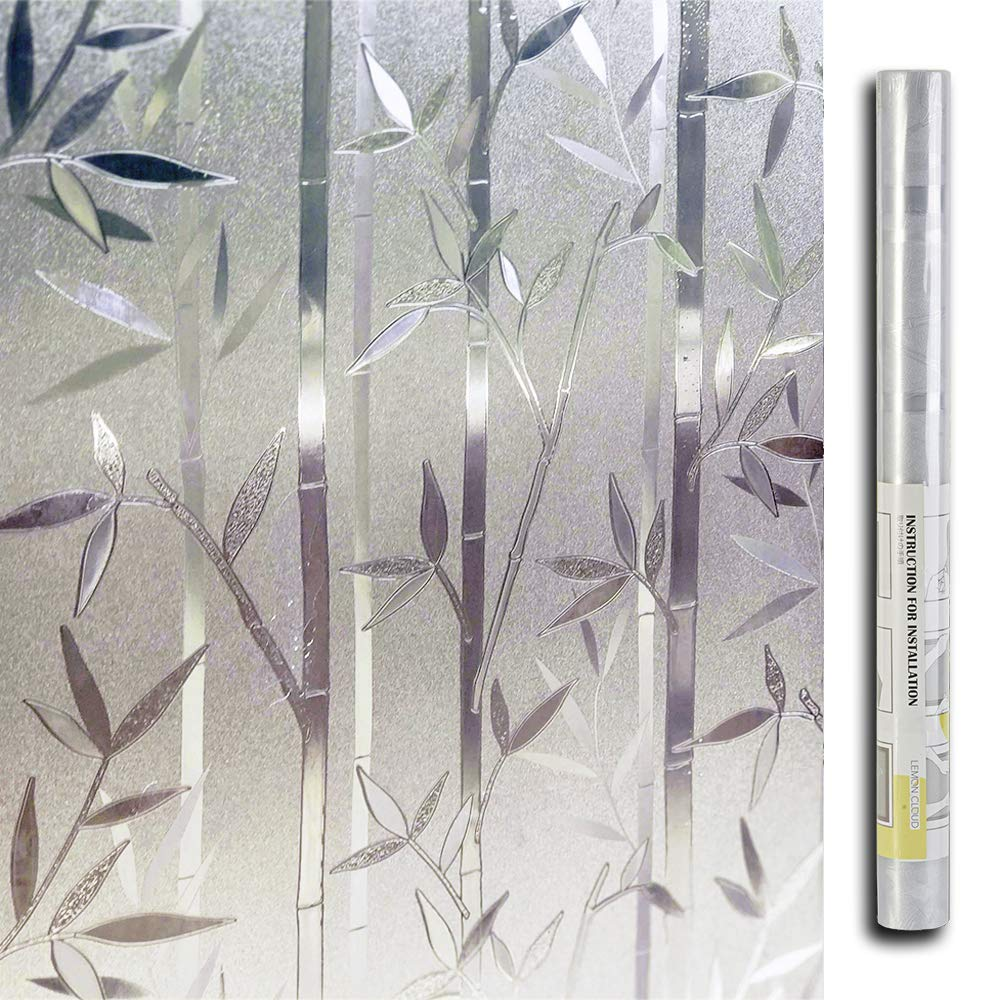 LEMON CLOUD Bamboo Frosted Window Films Privacy Decorative Glass Film (23.6in. by 78.7in)