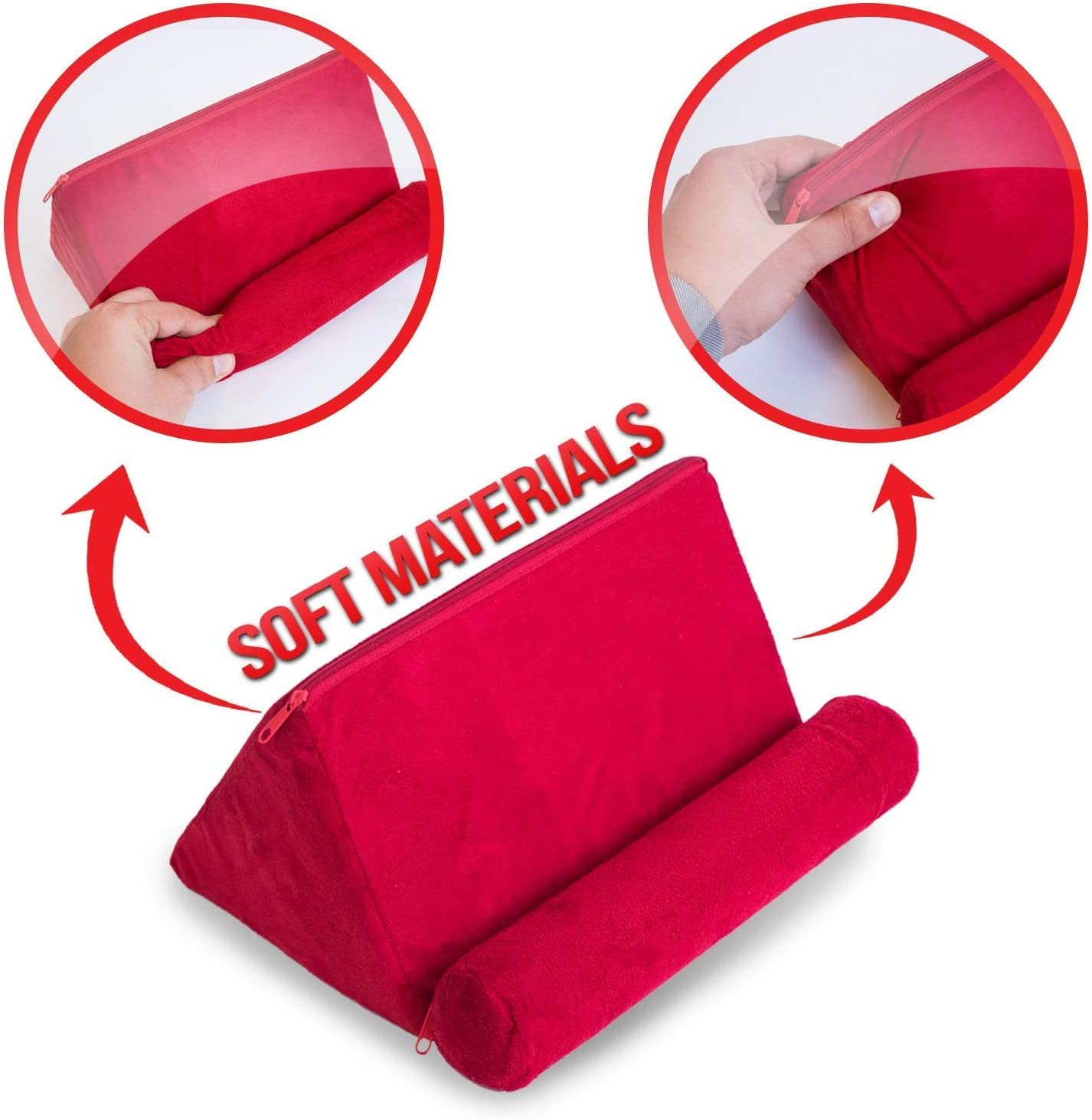 iPad Tablet Pillow Holder for Lap Pillow for Tablet or iPad Universal Phone and Tablet Holder for Bed Can Be Used also on Floor Red Color Chair Couch Desk