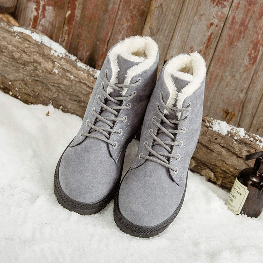 Ladies Plush Snow Boots Ankle Short Boots Sneakers Non-Slip Women Lace up Winter Warm Boots