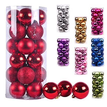 ams christmas ball ornaments exquisite colorful balls decorations pendant pack of 24pcs 40mm red - Christmas Ball Decorations