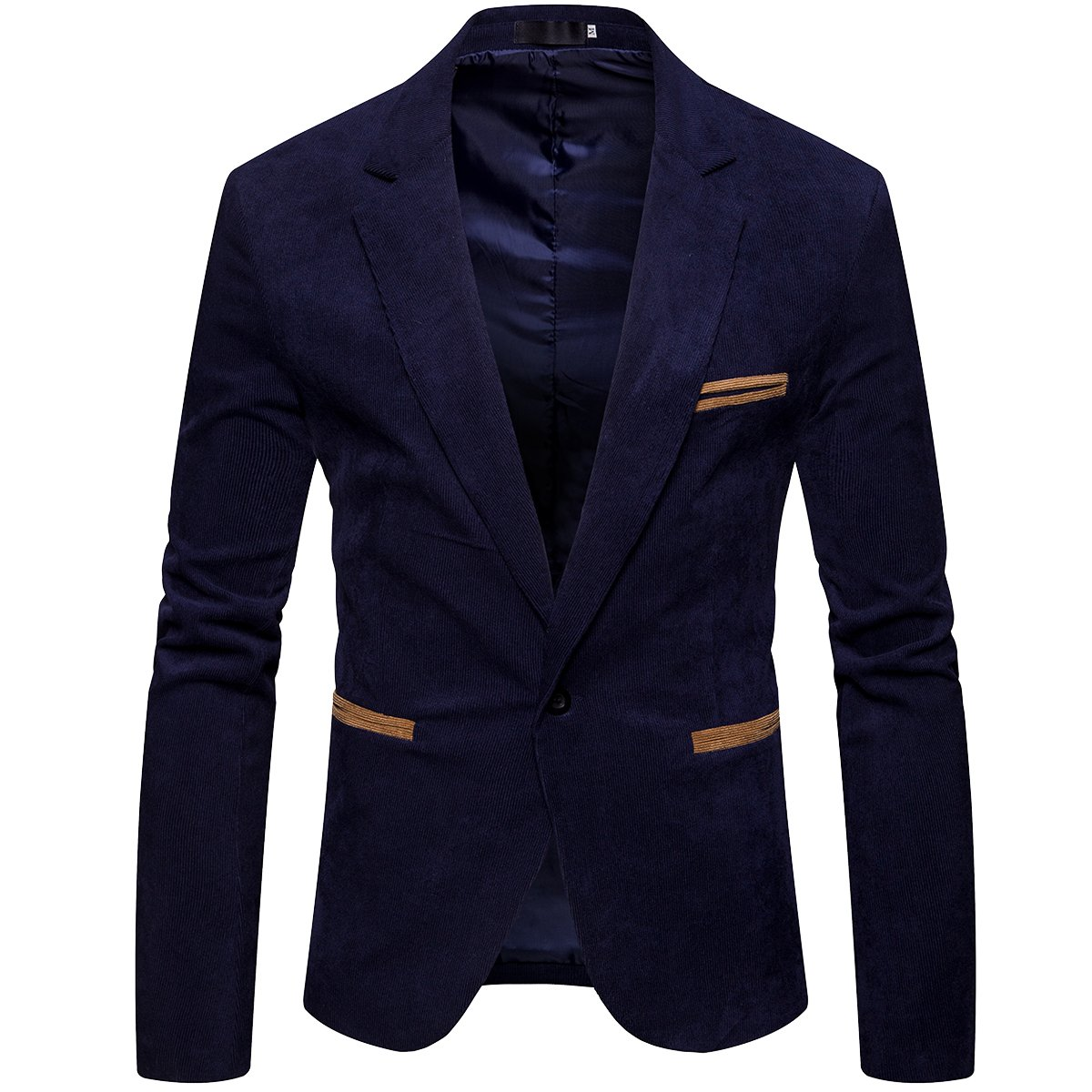 Cottory Mens Slim Fit Stylish One Button Blazer Corduroy Sport Jacket Dark Blue Small