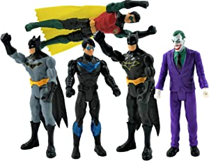 Batman Missions DC 6 Inch Action Figures | 5 Pack Includes The Joker, Grey Suit Batman, Black Suit Batman, Robin and Nightwing | 5 Point Articulation