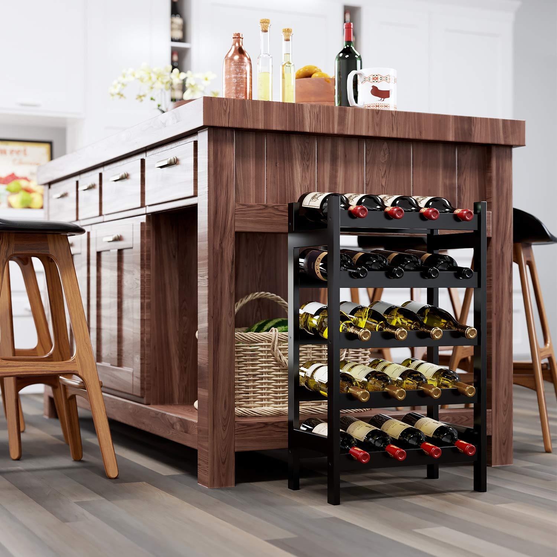 HOMECHO 20 Bamboo Wine Display Bottles Storage Rack Free Standing with 5-Tier Shelf Wobble-Free Retro Color HMC-BA-003 by HOMECHO (Image #6)